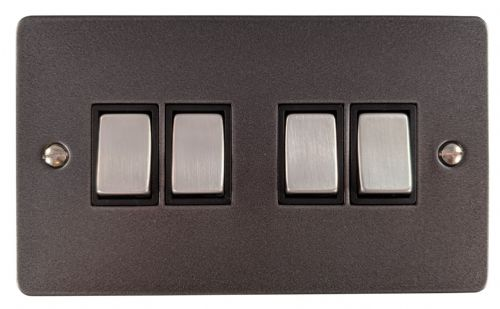 G&H FP304 Flat Plate Pewter 4 Gang 1 or 2 Way Rocker Light Switch